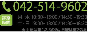 電話番号042-514-9602  診療時間 月~木0:30~13:00/14:30~19:30 土・日9:30~13:00/14:30~18:30 ★土日は第1,2,3のみ。日曜は第2のみ